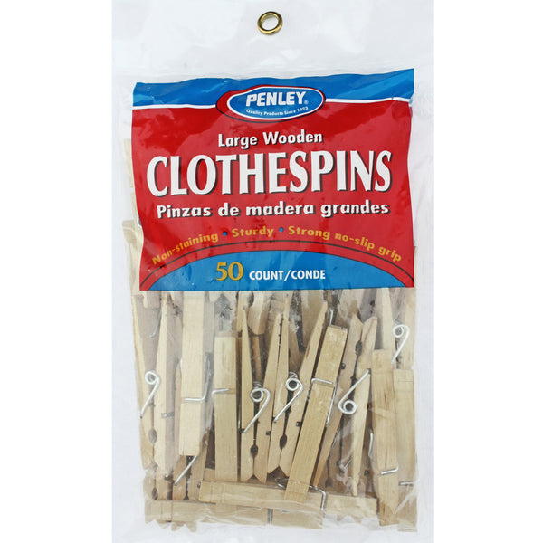 Penley 027 Large Wooden Spring Clothespins, 50-Count