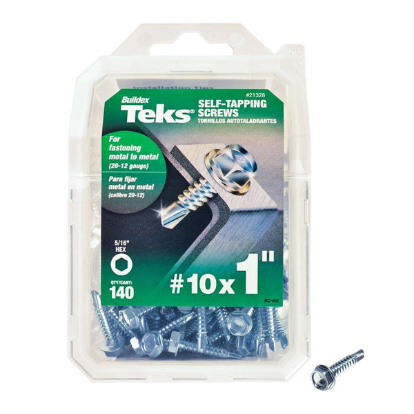 "Teks® 21328 Self-Tapping Hex-Washer-Head Drill Point Screw, #10 x 1"", 140-Count"