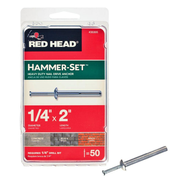 "Red Head® 35305 Hammer-Set™ Heavy Duty Nail Driver Anchors, 1/4"" x 2"", 50-Pack"