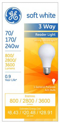 GE Lighting 15846 3-Way A21 Reader Light Bulb, 70/170/240W, Soft White