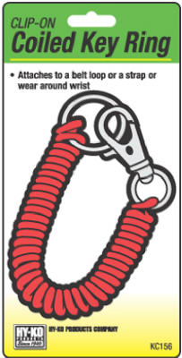 Hy-Ko KC156 Clip-On Vinyl Coiled Key Ring with Metal Clip