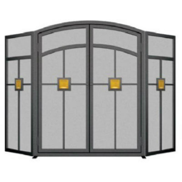 Panacea™ 15137 Mission Style 3-Panel Fireplace Screen, Eggshell Black