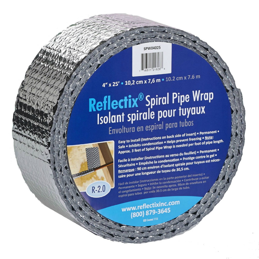 Reflectix® SPW0402512 Spiral Pipe Wrap Insulation, R-2 0, 4
