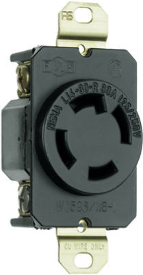 Pass & Seymour Turnlok Single Receptacle, 30A, 125/250V, Black