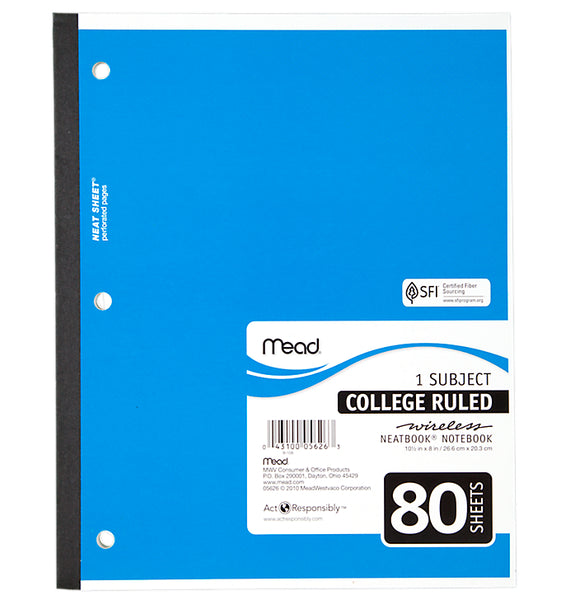 "Mead® 05626 College Ruled Wireless Notebook, White Paper, 10.5"" x 8"", 80-Sheets"