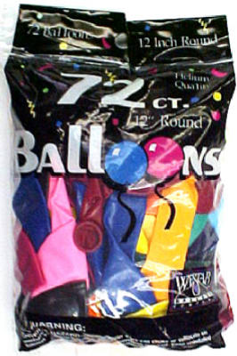 "Creative 127217 Helium Latex Decorator Balloons, 12"", Assorted Color, 72-Count"