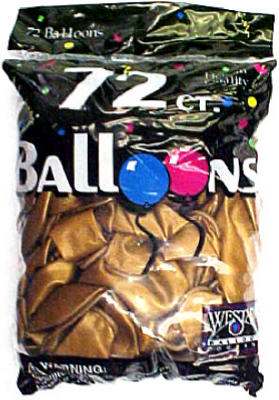 "Creative Balloons 127250 Latex Helium Balloons, Metallic Gold, 12"", 72-Count"