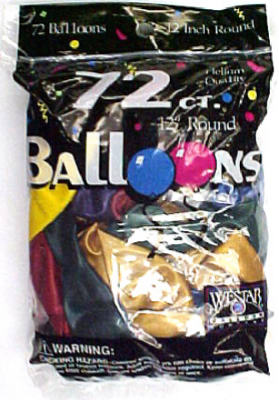 "Creative 127258 Helium Latex Balloons, 12"", Assorted Metallic Colors, 72-Count"