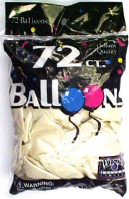 "Creative 127260 Helium Latex Balloons, 12"", Metallic Pearl White, 72-Count"