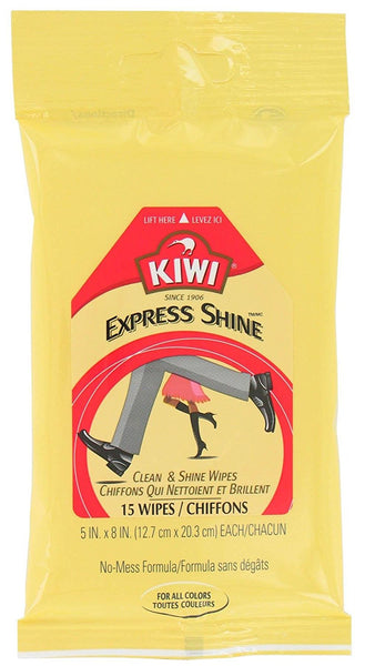 KIWI 16600 Express Shine Clean & Shine Wipes for Leather, 15-Count