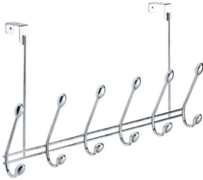InterDesign® 75600 Orbinni Over The Door Rack, 6-Hook, Chrome