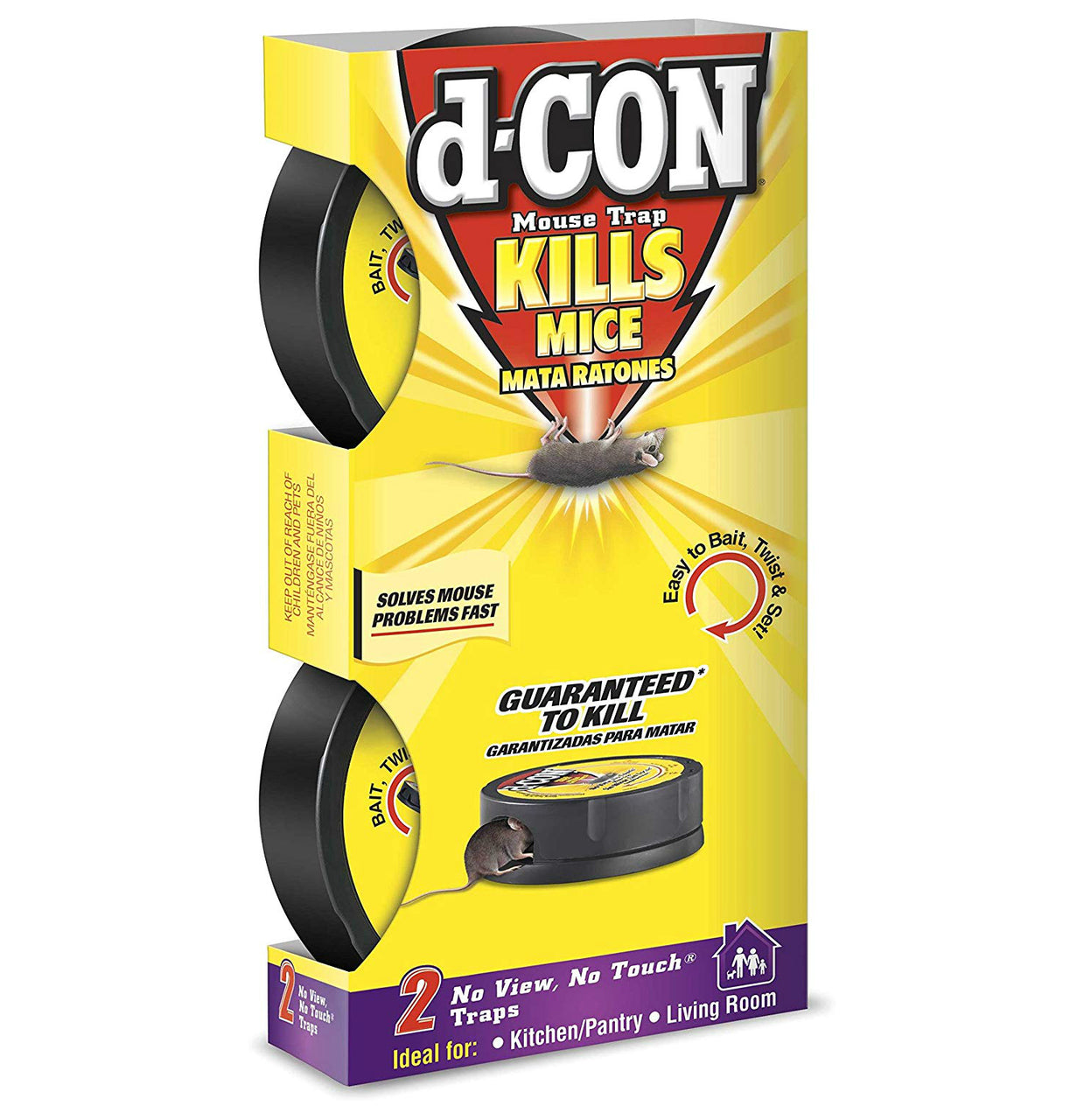 D-CON 1920082043 No View No Touch Mouse Trap, 2-Count