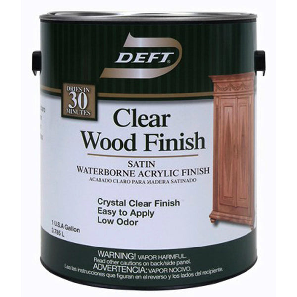Deft® DFT109/01 Clear Wood Finish Interior Waterborne Acrylic, 1 Gallon, Satin