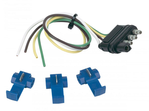 Hopkins 48105 4-Wire Flat Trailer End Connector  with 3 Splice Connectors, 12""