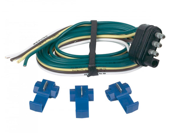 Hopkins 48125 4-Wire Flat Trailer End Connector with 3 Splice Connectors, 48""