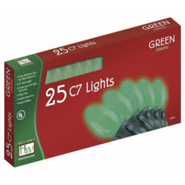 Holiday Wonderland® 2524G-88 Christmas C7 Ceramic 25-Light Set, 25', Green