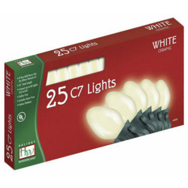 Holiday Wonderland® 2524W-88 Christmas C7 Ceramic 25-Light Set, 25', White