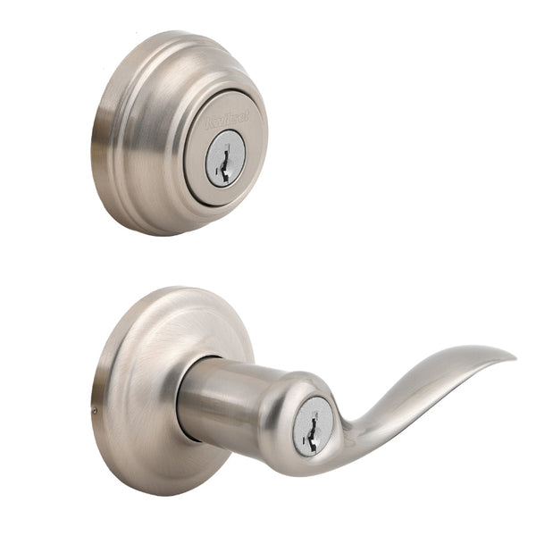 Kwikset® 991TNL-15-SMT-CP-K4 Tustin Lever & Single Cylinder Deadbolt, Satin Nickel