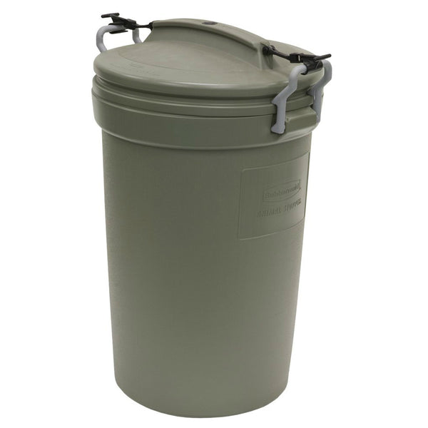 Rubbermaid RM5F8201 Animal Stopper Trash Can, 32 Gallon, Olive