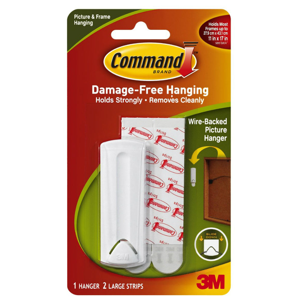 Command 17041 Wire-Backed Picture Hanger with Adhesive, White, 1 Hanger & 2 Strips