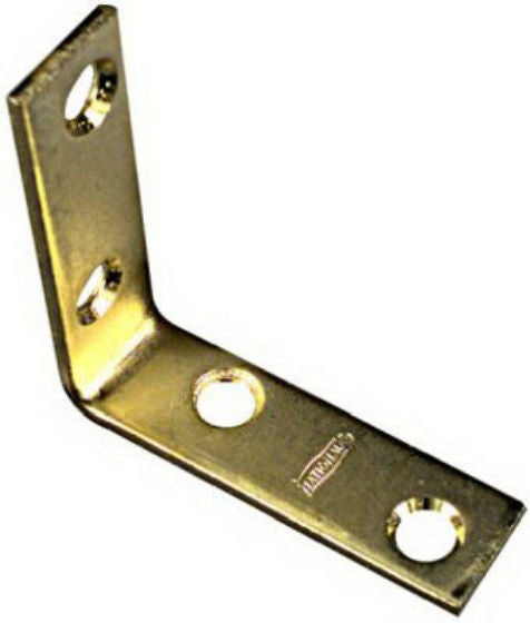 "National Hardware® N190-835 Corner Iron with Screws, 2"" x 5/8"", Bright Brass, 4-Pack"