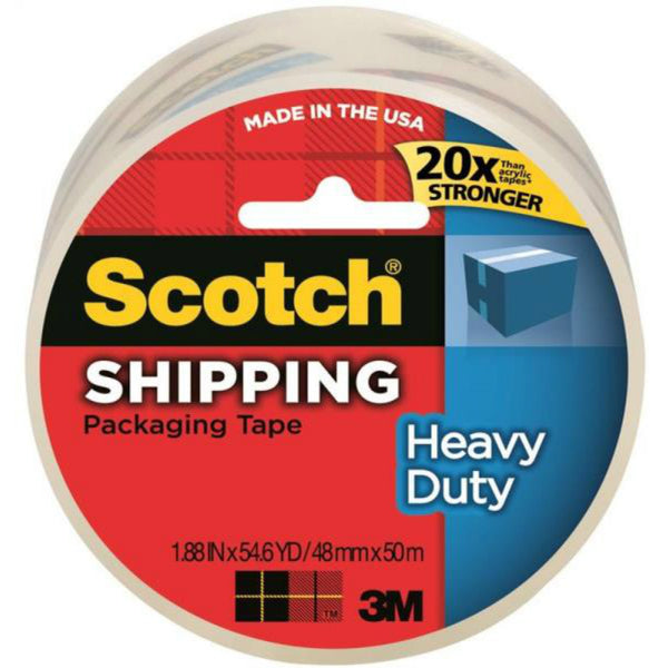 "Scotch 3850 Heavy-Duty Shipping Packaging Tape, 1.88"" x 54.6 Yd, Clear"