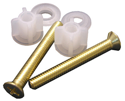Lasco 14-1069 Toilet Seat Bolt With Nuts, Polished Brass