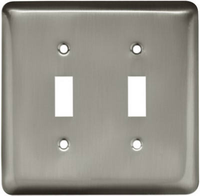 Brainerd® 64093 Stamped Round Double Switch Wall Plate, Satin Nickel