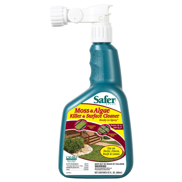 Safer® 5324 Moss & Algae Killer & Surface Cleaner, Ready To Spray, 32 Oz