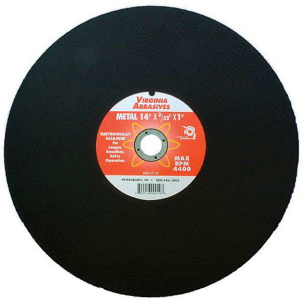 "Virginia Abrasives™ 424-17114 Cutoff Wheel for Metal Chopsaw, 14"" x 3/32"" x 1"""