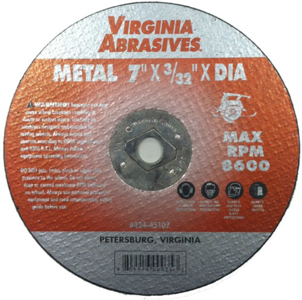 "Virginia Abrasives™ 424-45107 Metal Cutoff Wheels for Circular Saws, 7""x 3/32""x5/8"""