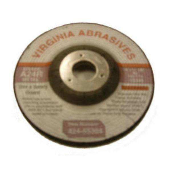 "Virginia Abrasives™ 424-55304 Metal Depressed Center Grinding Wheel, 4""x1/4""x5/8"""