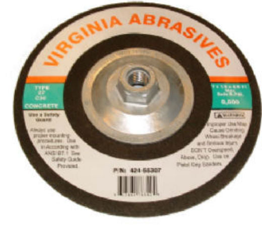 "Virginia Abrasives™ 424-55307 Concrete Grinding Wheel with Hub, 7"" x 1/8"" x 5/8""-11"""