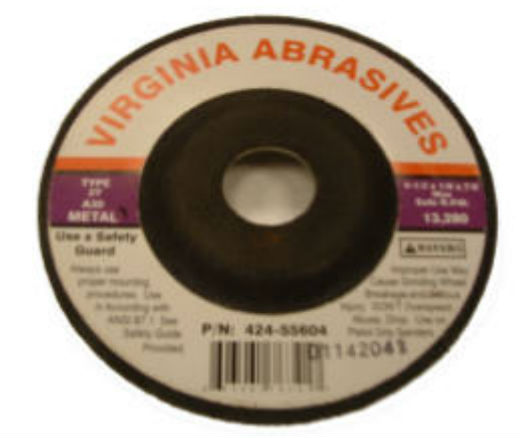 "Virginia Abrasives™ 424-55604 Metal Grinding Wheel, 4-1/2"" x 1/8"" x 7/8"""