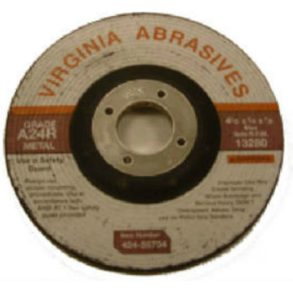 "Virginia Abrasives™ 424-55704 Metal Depressed Center Grinding Wheel, 4-1/2""x1/4""x7/8"""