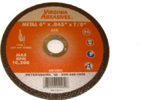 "Virginia Abrasives™ 424-59003 Metal Ultra Thin Cutting Wheel, 6"" x 0.045"" x 7/8"""