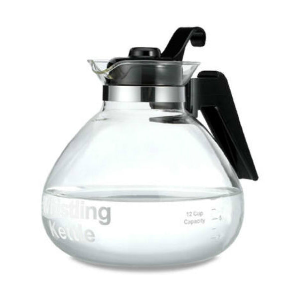 Medelco WK112 12-Cup Glass Stove Top Whistling Tea Kettle