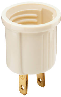 Pass & Seymour Edison Socket Adapter, 125V, 660W, Ivory