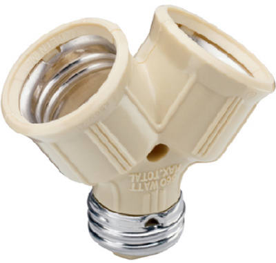 Pass & Seymour Incandescent Twin Light Socket, 660W, 15A, 125V, Ivory