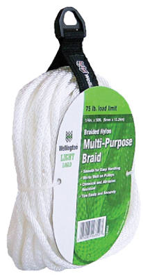 "Wellington 16352 Solid Braided Nylon Cord, 1/4"" x 50', Silvery White"