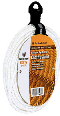 "Wellington 28438 Braided Synthetic Clothsline, 3/16"" x 50', White"