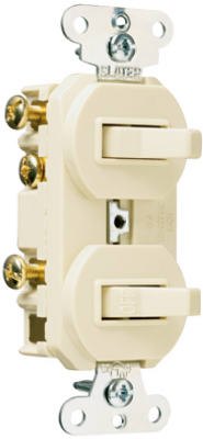 Pass & Seymour Combination Switches, 15A, 120/277V, Ivory