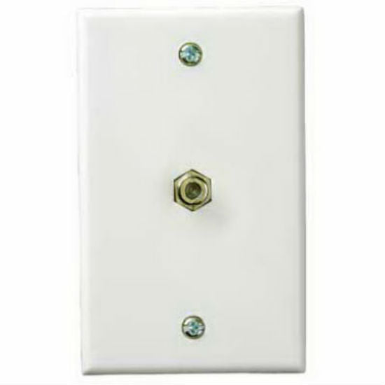 RCA VH61N Coaxial Cable Wall Plate with Single Gold Plated F Connector, White
