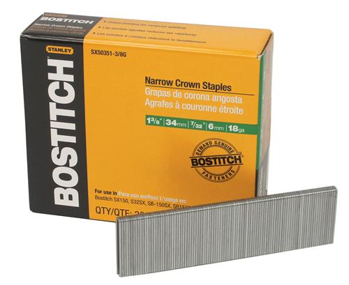 "Bostitch® SX50351-3/8G Narrow Crown Finish Staples, 18-Gauge, 1-3/8"", 3000-Pack"