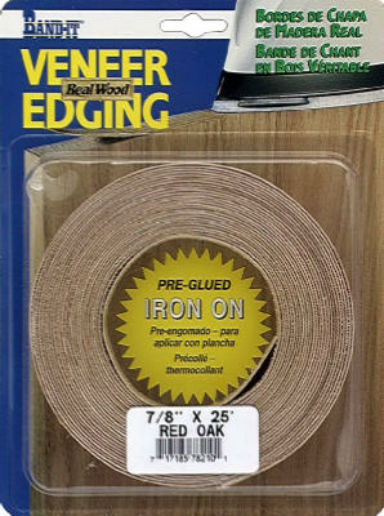 "Band-IT® 78210 Pre-Glued Iron-On Wood Veneer Edgebanding, Red Oak, 7/8"" x 25'"