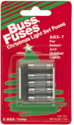 Cooper Bussmann BP-AGX-7X5 Glass Tube Christmas Light Fuse,7A, 5-Pack