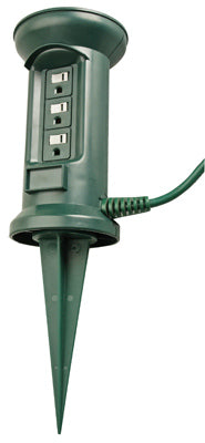 Master Electrician 05777ME Outdoor 3-Outlet 16/3 Power Stake, 25', Green