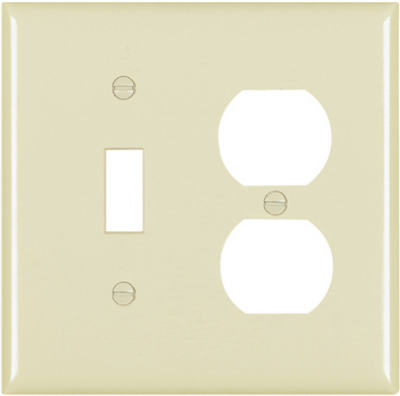 Pass & Seymour Toggle/Duplex, Receptacle Oversize Wall Plate,  2 Gang, Ivory