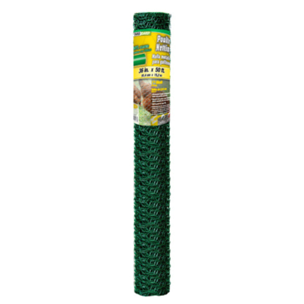 "YardGard® 308456B Green PVC Coated Poultry Netting, 20-Gauge, 1"" Mesh, 36""x50'"
