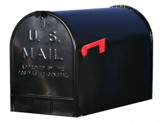 Gibraltar ST200B00 Ribbed Galvanized Steel Rural Mailbox, Jumbo, Black